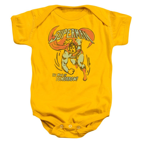 "Gold-Yellow Superman Flying ""Tomorrow Man"" Baby Onesie"