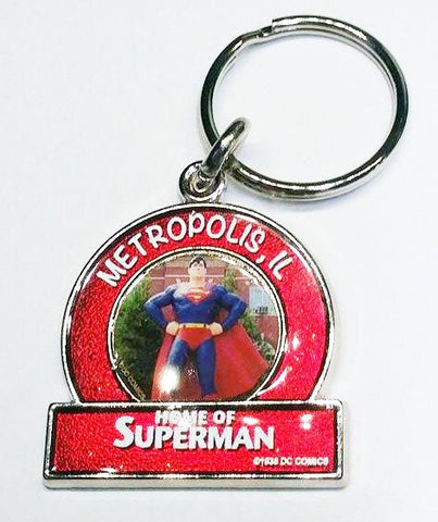 Metropolis ILLINOIS Superman Small Red Statue Keychain