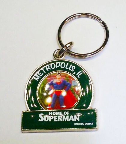 Metropolis ILLINOIS Superman Small Green Statue Keychain