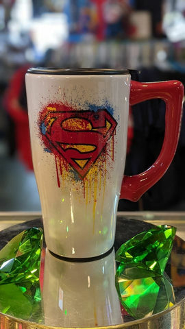 Superman Paint Splater Red Handle Ceramic Travel Mug with lid