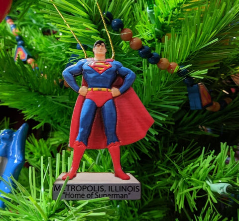 Superman Metropolis Illinois Statue double sided Christmas Ornament