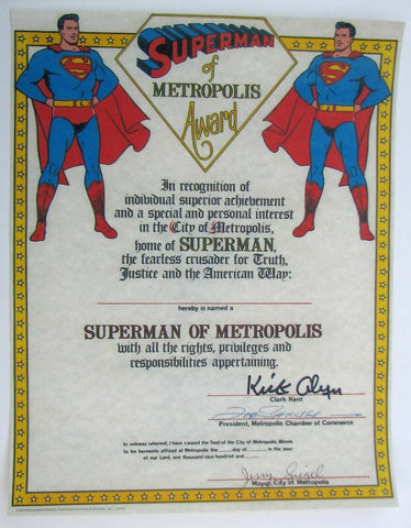 Superman of Metropolis Signed by Alyn-Siegel-Shuster