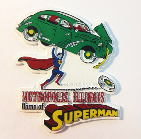 Metropolis Illinois Superman Lifting Green Car Magnet