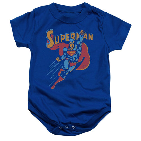 "Blue Superman Flying ""Life Like Action"" Baby Onsies"