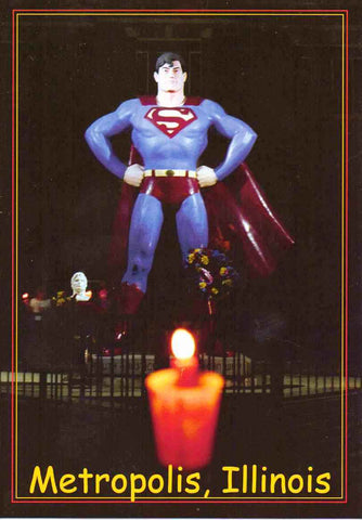 "Metropolis Illinois ""Home of Superman"" Statue Postcard Candle light Vigil for Christopher Reeve"