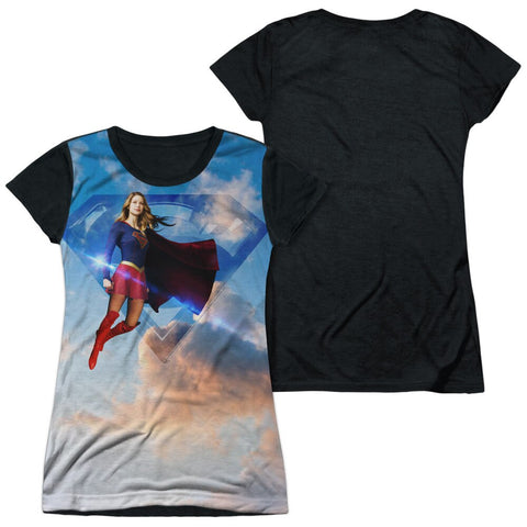 Juniors CW Supergirl Up in the Sky Shirt with Black Back and Sleeves