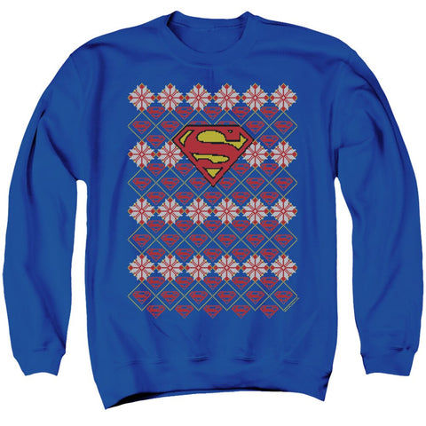 Superman Shields and snowflakes Christmas sweater
