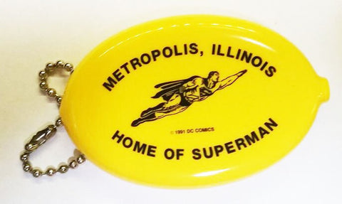 Metropolis Illinois Superman Coin Purse Keychain yellow