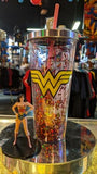 Wonder Woman Logo Glitter Acrylic Travel Cup with Straw