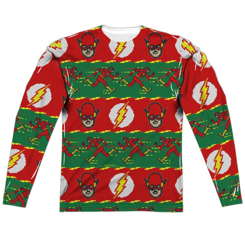 "The Flash LOGOS HOLIDAY ""Ugly Christmas Sweater"" Style Long Sleeve Shirt"