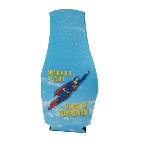Metropolis Illinois Flying Superman Billboard Bottle Hugger Coozie