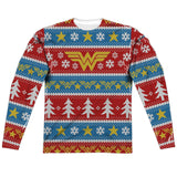 "WONDER WOMAN HOLIDAY ""Ugly Christmas Sweater"" Style Long Sleeve Shirt"