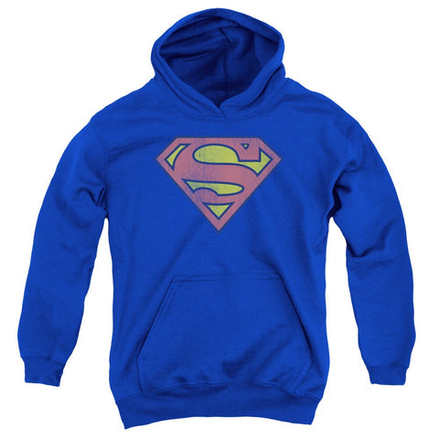 Retro Superman Logo Distressed Youth Royal Blue Pull-Over Hoodie