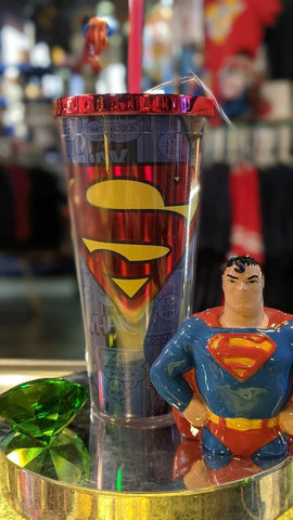 Superman Logo Foil 20 oz Travel Cup with Straw
