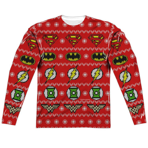 "JUSTICE LEAGUE LOGOS HOLIDAY ""Ugly Christmas Sweater"" Style Long Sleeve Shirt"