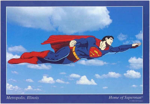 Metropolis Illinois Flying Superman Postcard