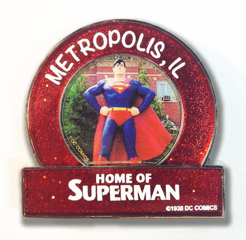 Metropolis Illinois Superman Small Red Statue Magnet