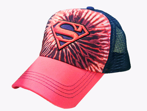 Supergirl Tie Dye Logo Pink and Purple Meshback Hat