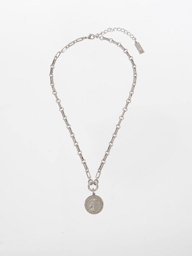 Coin necklace - a gourmet rough necklace with a  double-side antique coin pendant. The necklace is plated with high quality silver plating. T