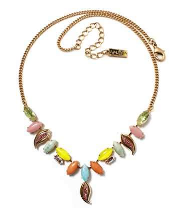 Delicate leaves colorful necklace