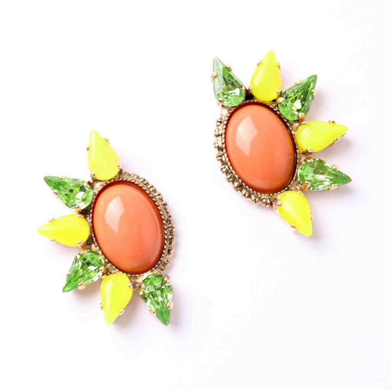 Cool colorful earrings set with sparkling Swarovski crystals and Semi-Precious stones 24K rose gold plated.