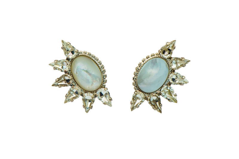 Cool earrings set with Swarovski crystals and Semi-Precious stones Rhodium plated.