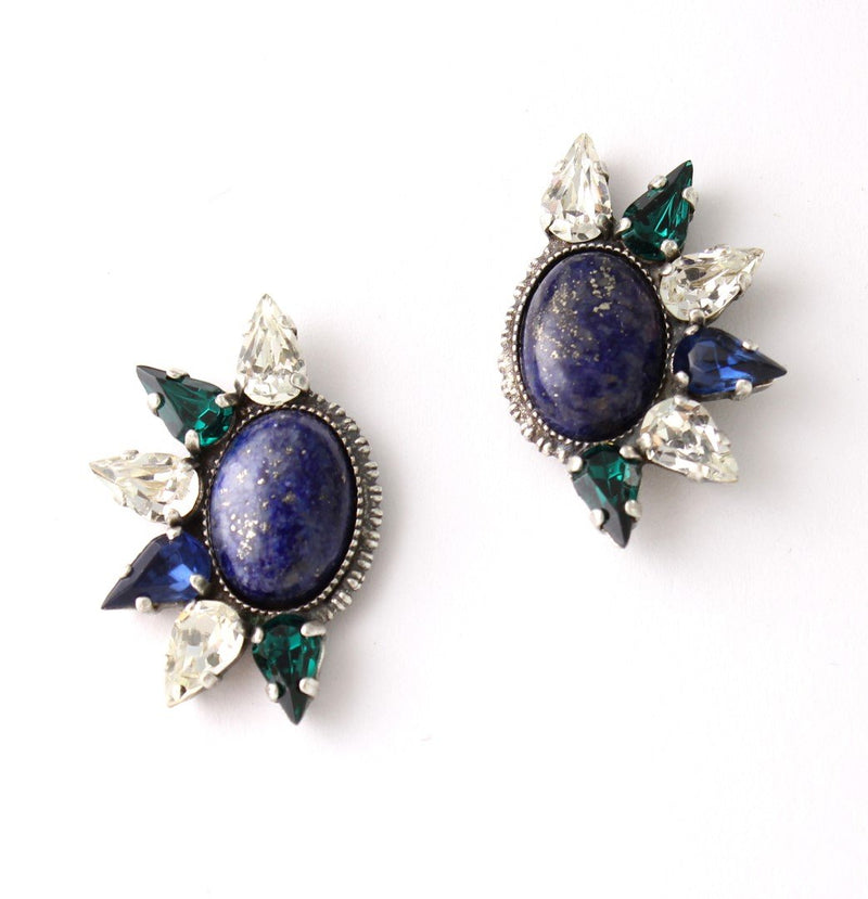 Cool earrings set with sparkling Swarovski crystals and Semi-Precious stones Antique silver plated.