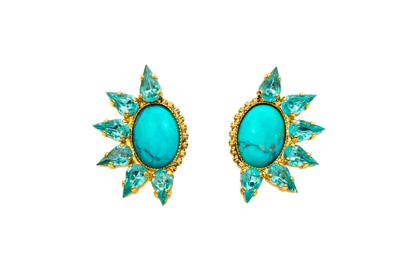 Cool earrings set with sparkling Swarovski crystals and Semi-Precious stones, Yellow gold plated.