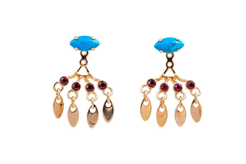 Jacket Earrings front and back set with Swarovski crystals and Semi-Precious stones 24k Rose gold plated.