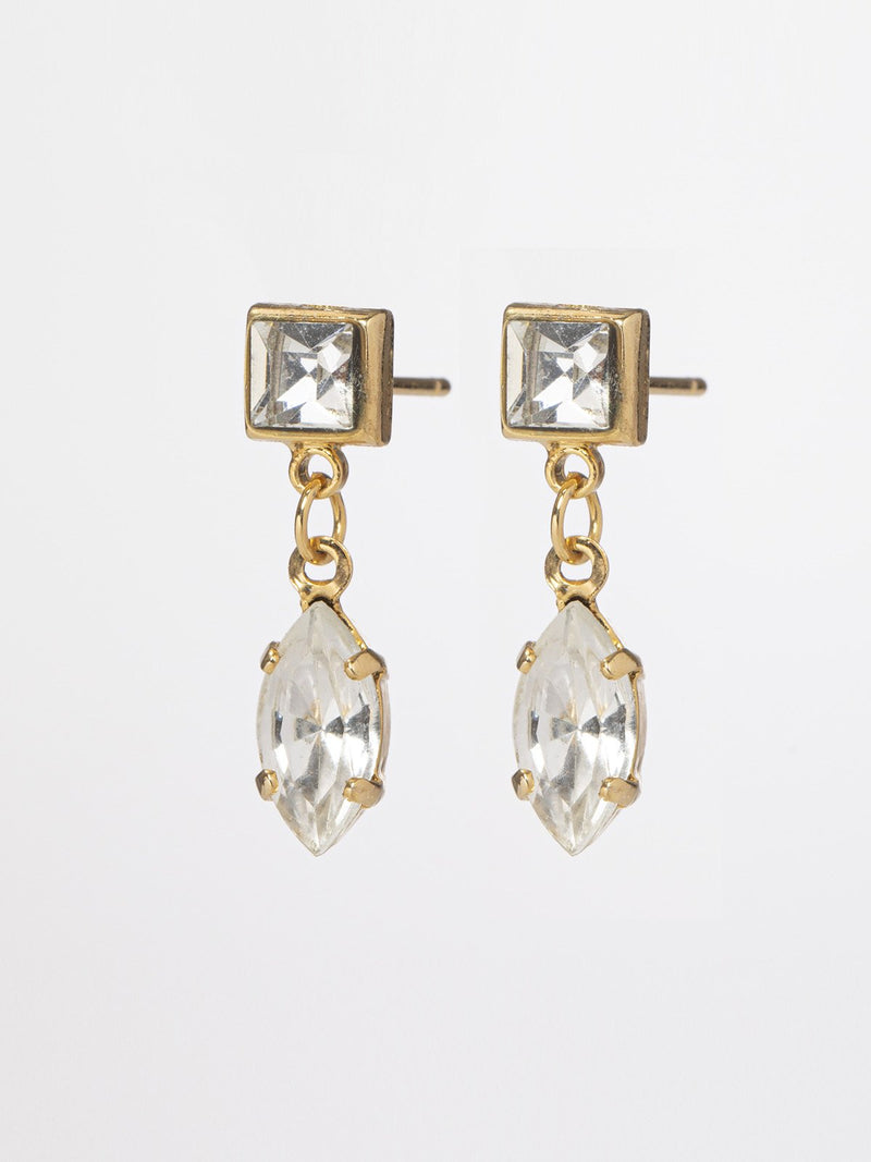 Lauren earrings- classic and fine pair of earrings with a square crystal top and a marquise dangling crystal. 24k yellow gold plated. Length: 2cm. The jewelry will arrive in a pretty box, ready to give.