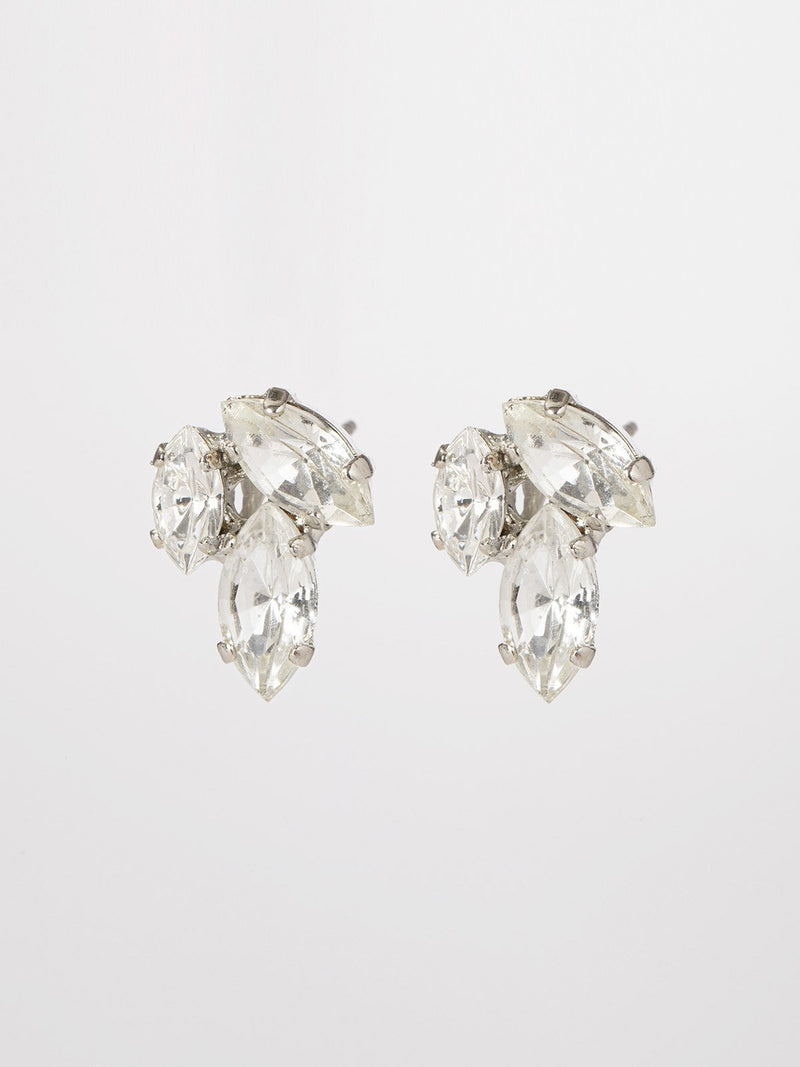 Eillie earrings- pair of classic & elegant post earrings- three marquise shaped crystals in an interesting composition. The earrings are rhodium plated.
