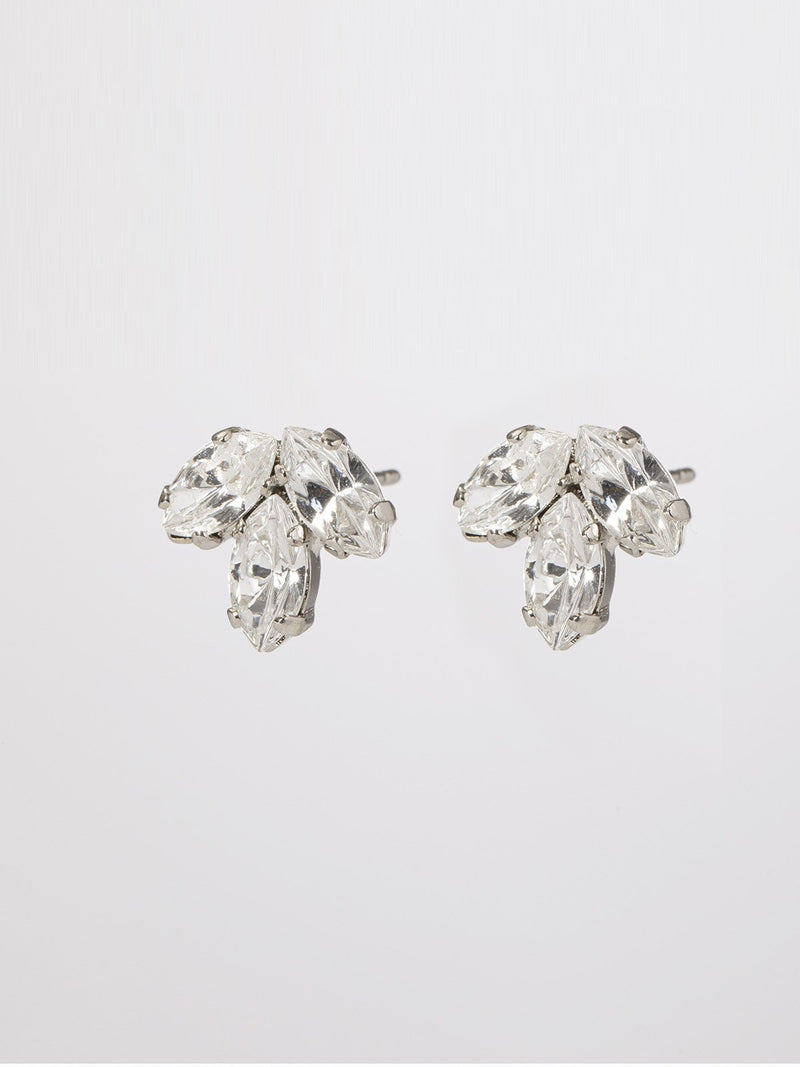 Shelly earrings- pair of classic & elegant post earrings- three marquise shaped crystals. The earrings are rhodium plated.