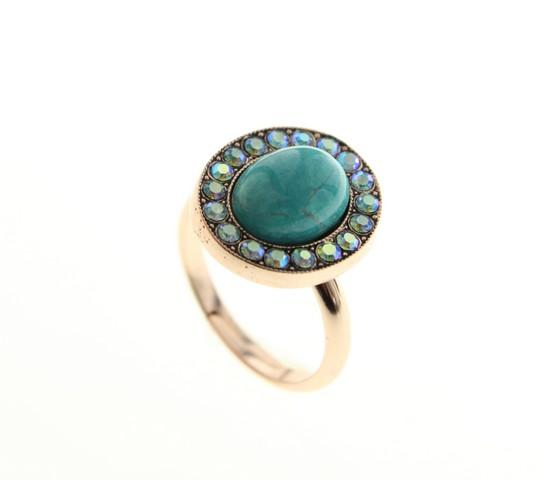 Classic oval ring set with Swarovski crystals and Turqoise stone