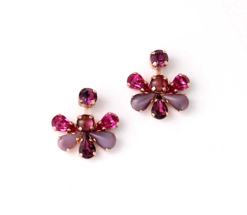 Delicate flower clip-on earrings set with Swarovski crystals and Semi-Precious stones 24K rose gold plating. .