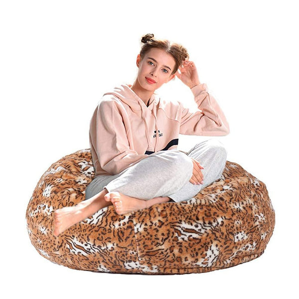 Velvet Leopard Self-Inflating Bean Bag