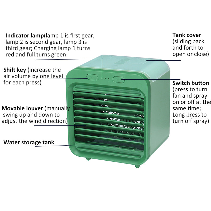 Rechargeable Battery Mini Portable Air Conditioner AC Unit Cooler with Humidifier Purifier - Evaporative Swamp Cooler