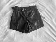 Load image into Gallery viewer, High Waist Ink Black Faux Leather Shorts