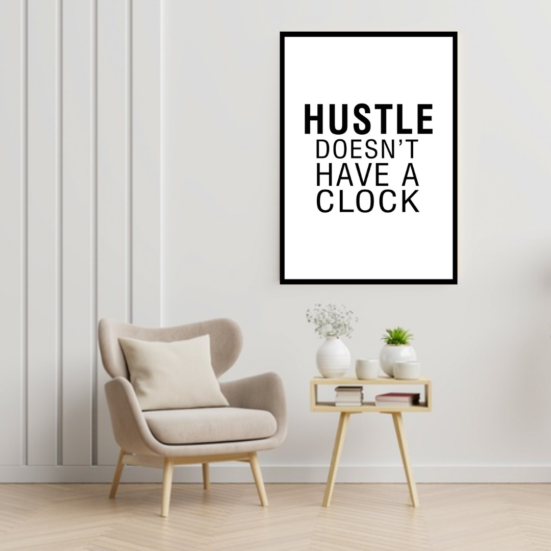 GoofyStore™ HUSTLE Doesn't Have a Clock Print, Motivation Poster A3 Size