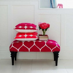 Embroidered Heart Upholstered Bench