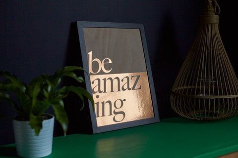 Be Amazing Copper Wooden Sign