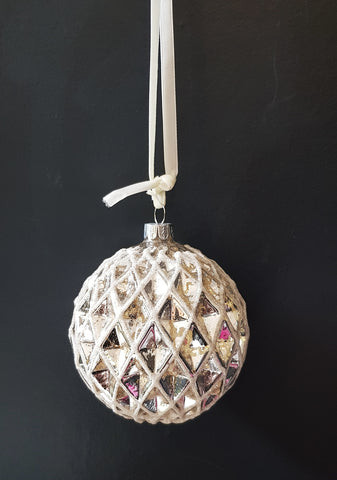 Large Glitter 12cm Bauble - 2 colours