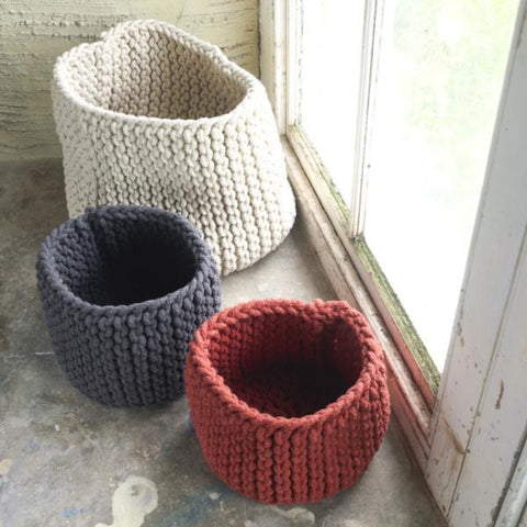 Large Knitted Fairtrade Storage Basket - 3 Colours Available