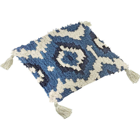 Shaggy Cotton Blue Ikat Cushion