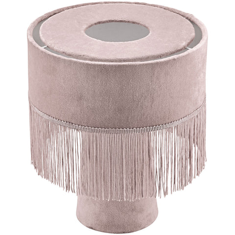 Avril velvet fringe lamp - blush