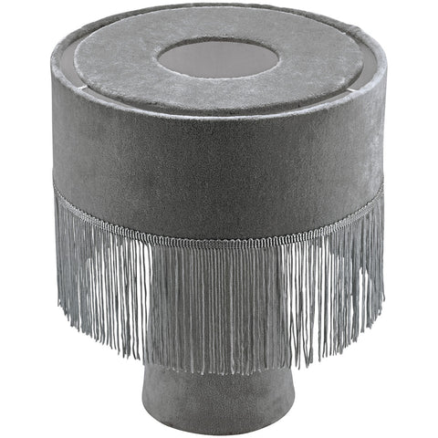 Avril velvet fringe lamp - grey
