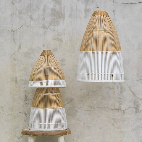 White Bamboo Pendant Light - 3 Sizes