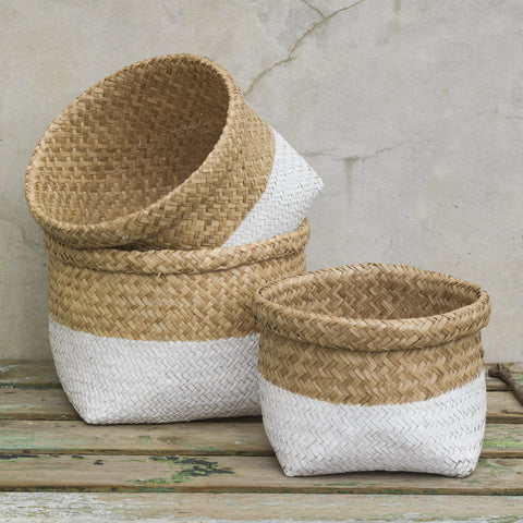 White Two Tone Storage Baskets - 3 Sizes Available