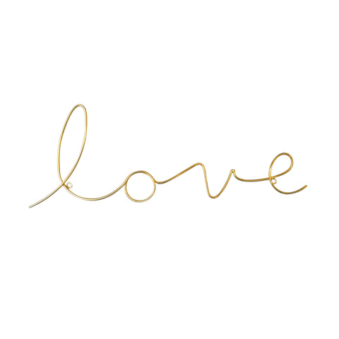 Love Gold Wire Wall Sign