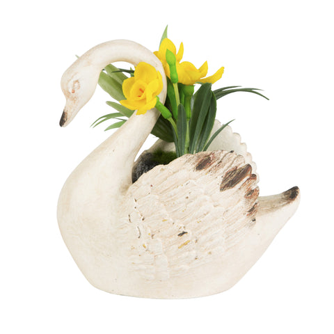 Swan Planter With Faux Flowers