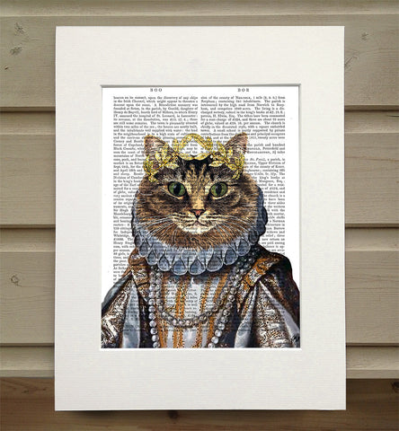Mounted Antique Book Paper Print - Queen Cat